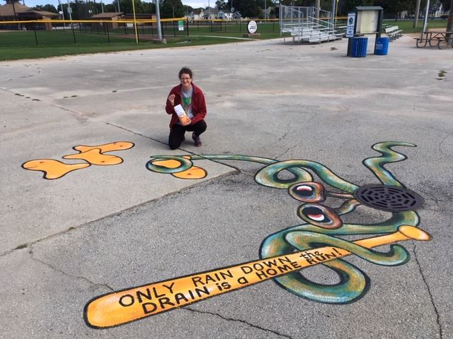 Rain down the drain mural by Paula Radl 9-2020